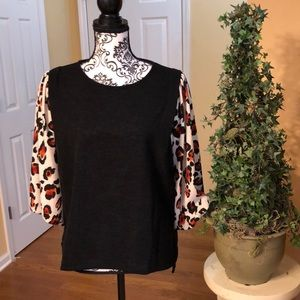 "Tops - Stunning Black Knit Top with ""leopard"" sleeves. L"